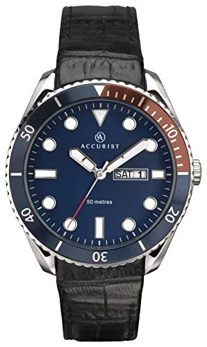 Accurist Herren Analog Quarz Uhr mit Leder Armband 7225