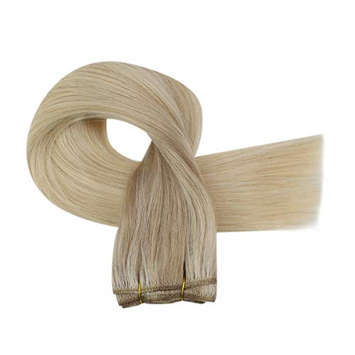 24inch Hair Weft Extensions Human Hair Balayage Ash Blonde Mixed Platinum Blonde Brazilian Sew In Human Hair Extensions Full Head One Bundle 100g/pack