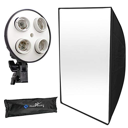 (50% Moving Photography Studio 20 x 28 inch Light Soft Box Reflector with 4 Socket Light Bulb Adapter with External White Diffuser Cover, Photo Studio, AGG856