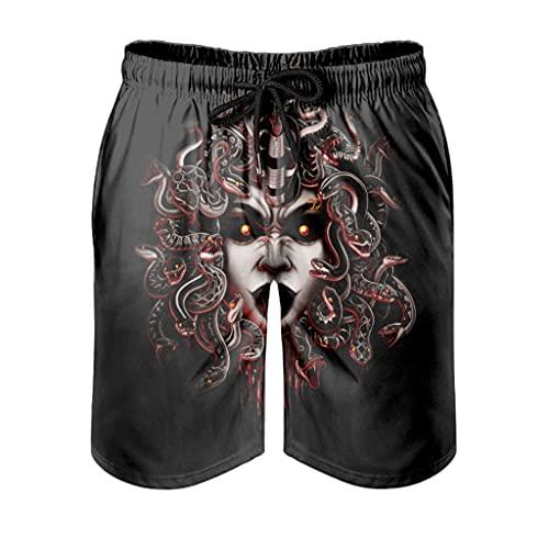 kikomia Pantalones cortos de playa para hombre, diseño de serpiente, con estampado divertido, color blanco, XL