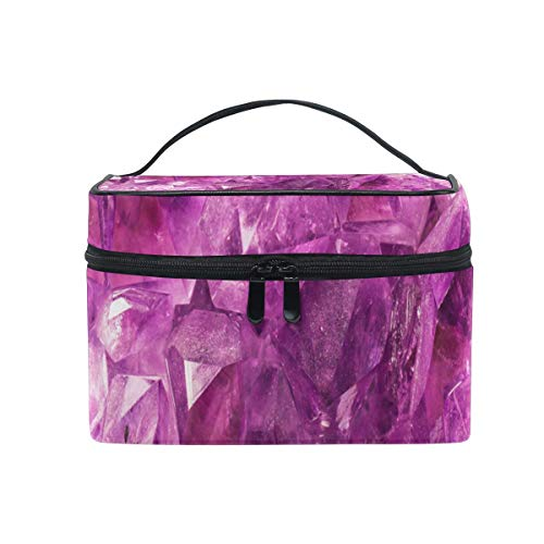 Trousse de maquillage Violet Glitter Printing Cosmetic Bag Portable Large Toiletry Bag for Women/Girls Travel