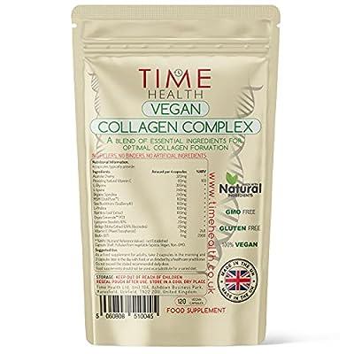 Vegan Collagen Complex | with Ceramides, Acerola Cherry, MSM, Spirulina, Bamboo, Lysine, Glycine, Proline, Biotin | UK Made | Zero Additives | GMP Standards (120 Capsule Pouch)