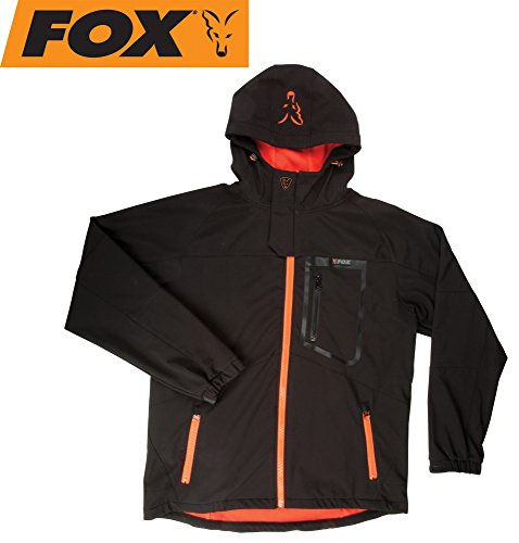 FOX Black/Orange Softshell Jacke Angeljacke, Anglerjacke, Softshelljacke, wasserdicht & atmungsaktiv, Größe:S