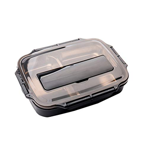 ShawnBlueLnsulated Lunch Box with Multiple Compartments and Cutlery, Suitable for Children Or Adults with Four Sealed Compartments, Leak-Proof Stainless Steel Lunch Box, Black