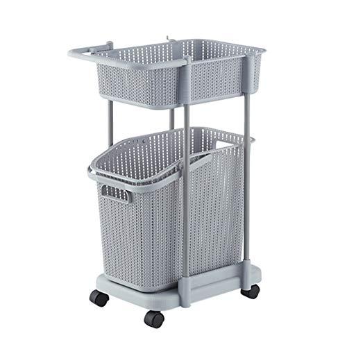 Cesto de la ropa 2 Nivel de lavandería cesta Clasificador sobre ruedas con mango, Cuarto de baño estante de almacenamiento de Rolling Utilidad de la compra, la ropa sucia for Niños cesto sucia