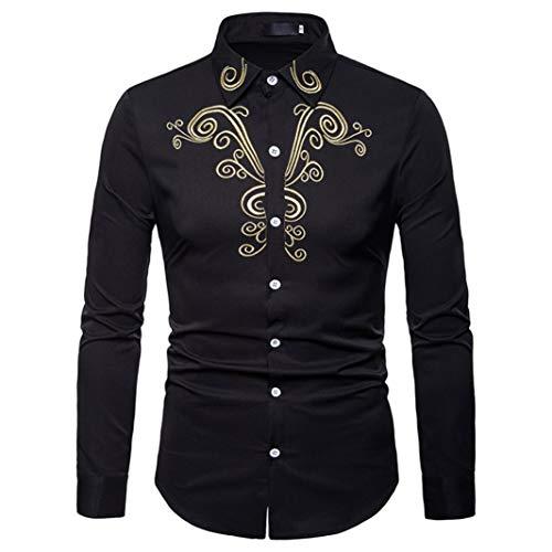 Hommes Top à manches longues, Toamen Automne hiver Décontractée folk-custom broderie Revers chemise à manches longues Luxe (S, Noir)