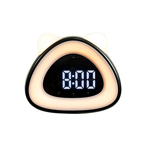 KJDFNAlarma niños Reloj Digital, Recargable Alarma de Reloj con función de repetición y Control de Voz de 4 Niveles de Ajuste de Brillo Noche de Luces, Conveniente para el Ministerio del Interior y