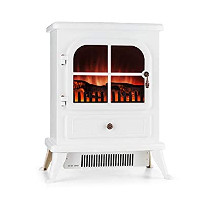 KLARSTEIN St. Moritz Electric Fireplace, Heater, 1500 W, Flame Simulation, Built-in Fan Heater, Glass Front Panel, Nostalgic Design, Adjustable Flame Brightness, Antique White
