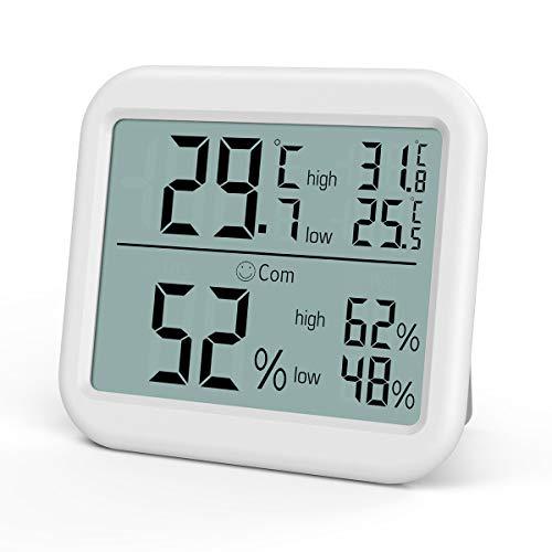 ORIA Termómetro Higrometro Digital Interior, Medidor de Temperatura y Humedad con Grande Pantalla LCD, Termohigrómetro Profesional con Registrando MAX/Min, Icono de Nivel de Comodidad para Casa