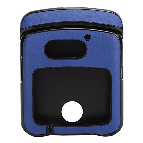 Hülle mit Clip für Motorola RAZR 5G Flip Phone, Stoßfeste Handy Lederhülle für Motorola Razr 5G Lederhülle(Blau)