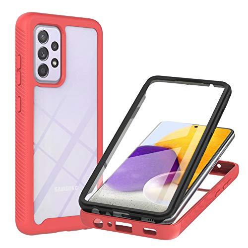 TTNAO Compatible con Samsung Galaxy A72 5G 4G, 360 Full Body Protection Hard Shell Protector de pantalla integrado PET Clear Cover a prueba de golpes y arañazos (rojo)