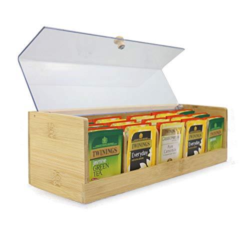 Caja de almacenamiento de té de bambú | Organizador de carrito de té de 5 compartimentos | Contenedor de té con tapa de acrílico transparente | M&W