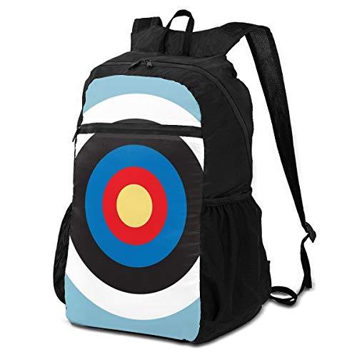 Cocoal-ltd Bulls Eye Right On Target Roundel Archery Mod Hit sur la peau bleue Sac à dos pliable, résistant à l'eau, léger et pliable pour voyage, camping, sport
