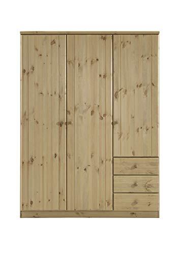 Steens Ribe Kleiderschrank, 3 Türen und 3 Schublade, 150 x 202 x 59 cm (B/H/T), Kiefer massiv, gelaugt/geölt