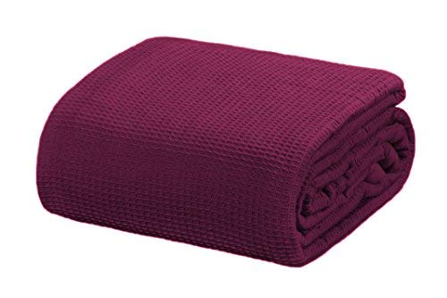 Crover Collection All Season Thermal Waffle Cotton Blanket with Deep Plain Edge Border and Durable Soft Yarns King Size 108'x90', Plum