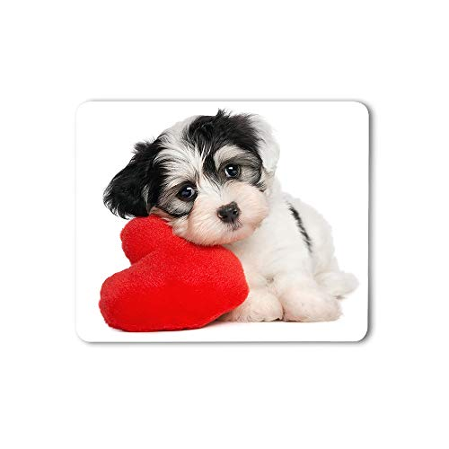 Moslion Puppy Dog with A Red Heart Mouse Pad Cute Funny Adorable Animal Romantic Valentine's Day Gaming Mouse Mat Non-Slip Rubber Base Thick Mousepad for Laptop Computer PC 9.5x7.9 Inch