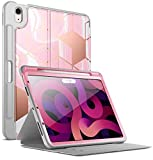 Popshine Marble Series Case for iPad Air 4 2020 10.9 inch, Full Body Premium Stylish 360 Degree Protective Folio Cover with Built-in Screen Protector for iPad Air 4th Generation, Liquid Marble Pink
