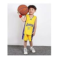 メッシュと通気性の子供たちのバスケットボールジャージーレイカー24#夏の屋外トレーニングに不可欠な迅速な乾燥スポーツウェア yellow-XXL