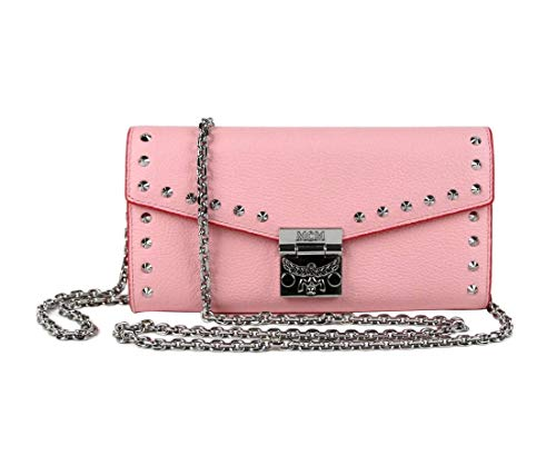 Made of leather; Accents: Studded; zipper pocket 12 card slots, 2 slip pockets, 2 money compartments Type: Chain Wallet Measurements: Length: 7.5; Height: 3.87; Width: 1.5 Inches Original MCM box, tags, and authenticity cards included