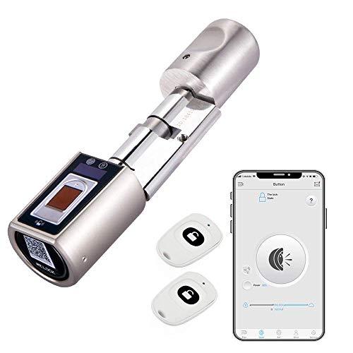 WE.LOCK Serrure de Porte d'empreinte Digitale,Barillet de Serrure biometrique,Serrure connectée, Serrure electriqu ,avec RFID carte,Connexion Bluetooth Wi-Fi, le montage est un jeu d'enfant