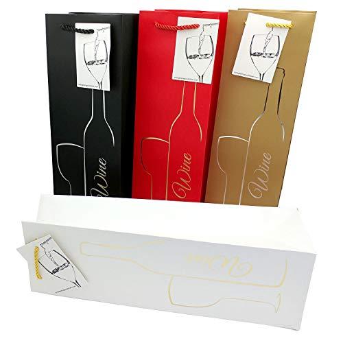 Geschenktüten mit Geschenkanhänger und Henkeln – Silhouette Flasche & Glas Design – Weinflaschenhalter für Hochzeiten, Jubiläen, Geburtstage, besondere Anlässe, H 39 cm x B 12 cm x T 9 cm