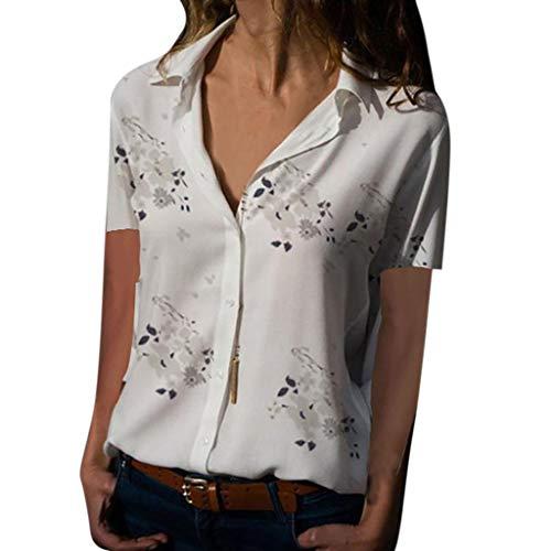 Lazzboy - Blusa de Manga Larga para Mujer, diseño de Leopardo Blanco White-Short Sleeve (48 ES) 4X-Large