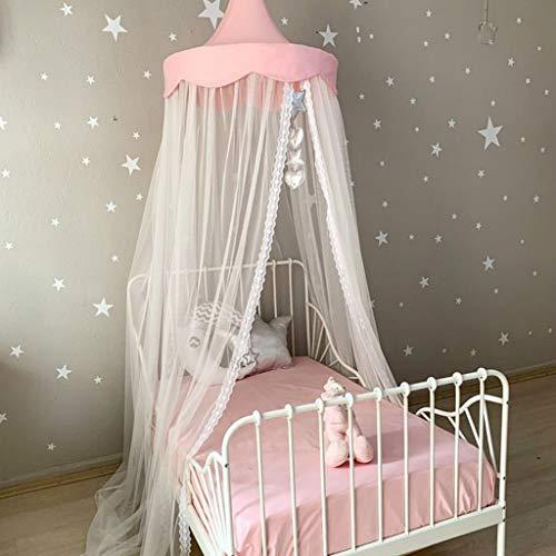 mosquitero para cama de princesa con encaje redondo para decoración de habitación de bebé, tienda de campaña, color rosa