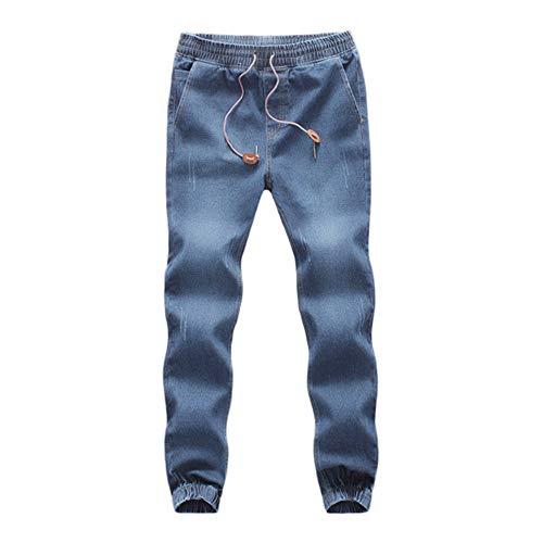 WUAI-Men Denim Jogger Jeans Comfy Strench Drawstring Elastic Waist Jeans Pants Plus Size(Light Blue,XXX-Large)