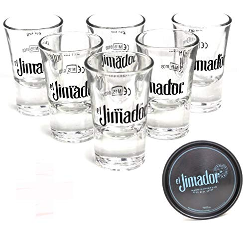 El Jimador Gläser 6er Set inkl. Glas-Tablett Tequila Shot geeicht ~mn 457 1233+