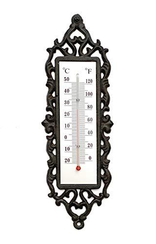 DanDiBo Thermometer Außen Gusseisen Wand Garten 5484 Wandthermometer Gartenthermometer Antik Außenthermometer Analog