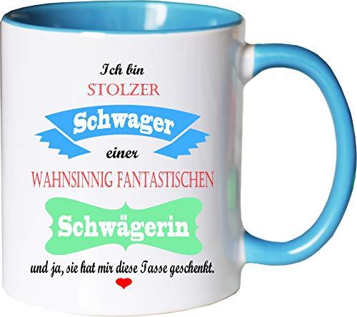 Mister Merchandise Becher Tasse Stolzer Schwager Einer wahnsinnig fantastischen Schwägerin - Sie hat Mir die Tasse geschenkt Kaffeetasse Bedruckt Kaffeebecher Geburtstagsgeschenk Weiß-Hellblau