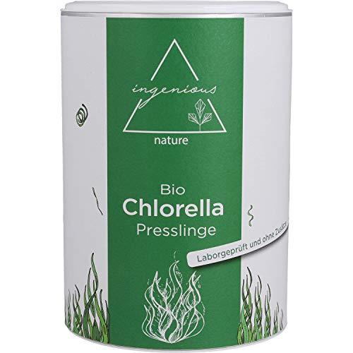 ingenious nature® Laborgeprüfte Bio Chlorella Presslinge - 1000 Presslinge je 500mg - 5 Monats Vorrat - ohne Zusätze (500g)