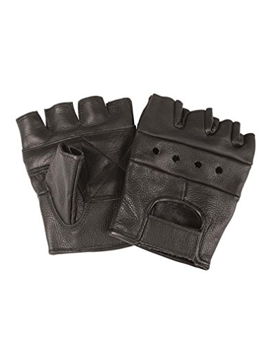 Mil-Tec Guantes de cuero sin dedos (Negro/XS)
