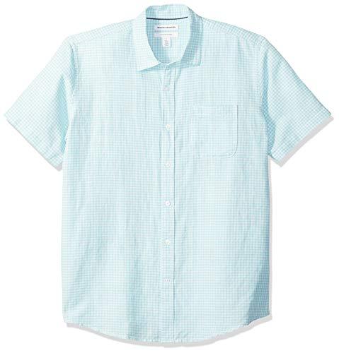 Amazon Essentials Herren-Hemd, Kurzarm, reguläre Passform, bedruckt, aus Leinen, Aqua Gingham, US M (EU M)