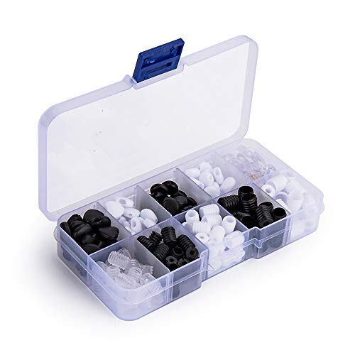 Jifenchen 120 PCS Cord Locks Silicone,Elastic Cord Adjuster Non Slip Stopper Black with Threading Tool Free to Adjust The Length