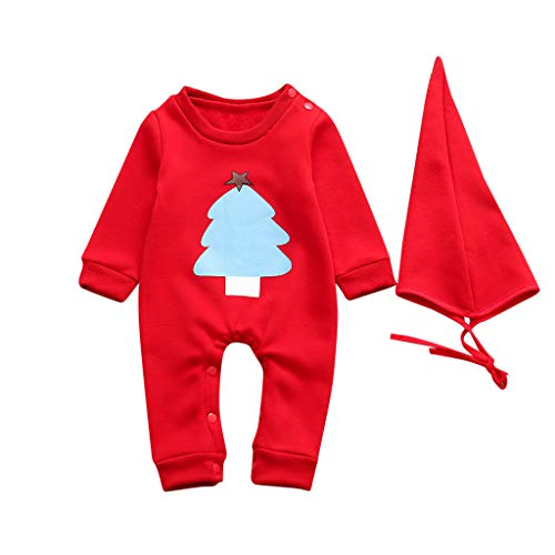 Fineday Outfits for Kids, Newborn Infant Baby Girl Christmas Cartoon Tree Romper Jumpsuit Hat Outfits Set, Girls Outfits&Set (Red 0-3 Months)