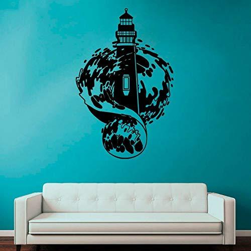 SLQUIET DIY Faro Mural Marítimo Diseño de pared Habitación de niños Pegatinas Patrones Baño Calcomanía impermeable Vinilo Carteles Pegatinas de pared Gris L 57x88cm