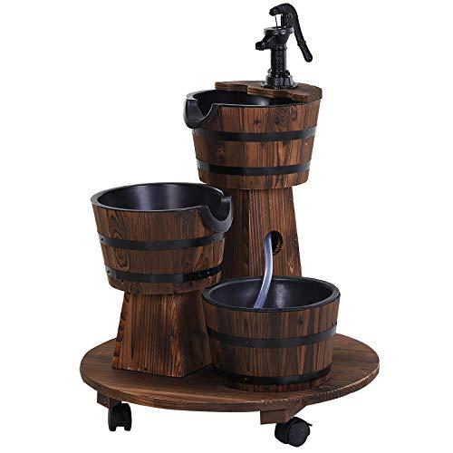 Outsunny Holzfass-Brunnen mit Wasserpumpe,Kaskadenbrunnen,ZImmerbrunnen,Rustikales Holz,Vintage-Stil,Einfach zu transportieren,Tannenholz,Verkohltes Holz,Maße 60 x 60 x 78 cm