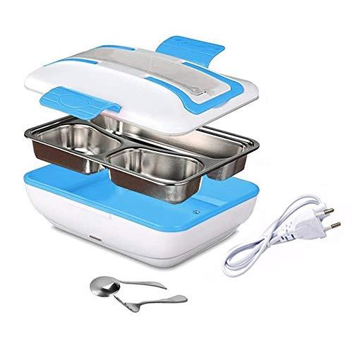 LG&S Pranzo al Sacco con Riscaldamento Elettrico per Scaldavivande per Bento Portatile da Pasto Termico da Ufficio con 3 Scomparti/Forchetta/Cucchiaio,Blu