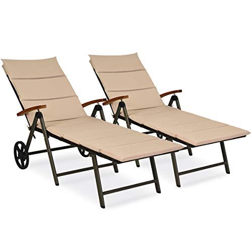 Tangkula Outdoor Chaise Lounge Chair, Aluminum Rattan Lounger Recliner Chair W/Wheels, Folding Wicker Chaise Chair W/Cushioned Seating, Recliner 5-Position Adjustable for Garden, Patio (2, Brown)