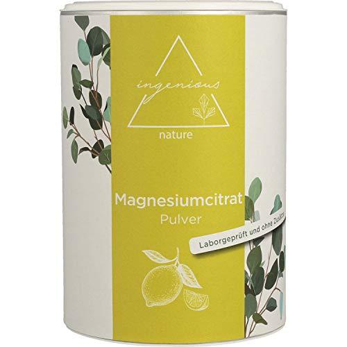 ingenious nature® Laborgeprüftes Magnesiumcitrat Pulver 500g - Magnesium-Pulver ohne Zusätze, vegan - mit Messlöffel und Zertifikat