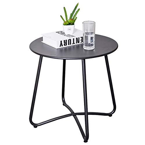 CaiFang Patio Metal Side Table, Round Small Portable Weather Resistant Outdoor Coffee Table Perfect for Garden, Yard, Balcony, Lawn (Black)