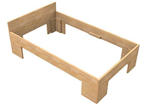 Baßner Holzbau 27mm Echtholzbett Massivholzbett Buche 120x200 Fuß II 44cm Rahmenhöhe