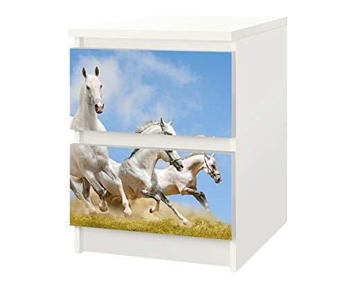 Set Möbelaufkleber für Ikea Kommode MALM 2 Fächer/Schubladen Pferde Pferderennen Kat6 Galopp Herde Aufkleber Möbelfolie sticker (Ohne Möbel) Folie 25F439