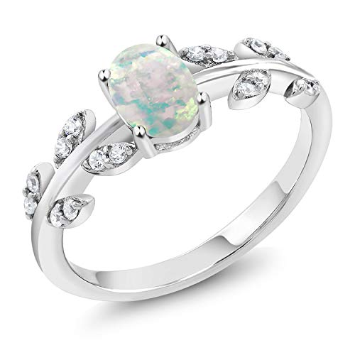 Gem Stone King 925 Sterling Silver White Simulated Opal Greek Olive Vine Branch Engagement Ring (0.84 Cttw Oval Cabochon Cut) (Size 8)