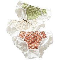 [アビコ]ABICO レディース ショーツ 可愛い 刺繍 少女感 ヒップハンガー 通気性 パンティレギュラーショーツ 下着 3枚セット