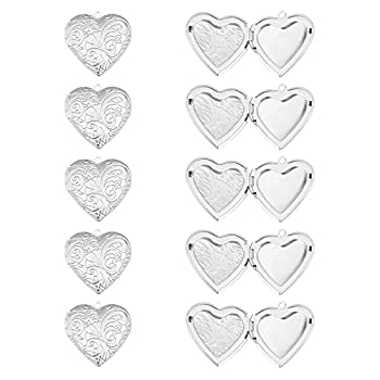 PH PandaHall about 10pcs Hypoallergenic Charms Stainless Steel Locket Pendants Photo Frame Charms Heart Pendants for DIY Memorial Necklace Making 29x29x7mm Hole 2mm