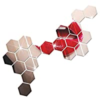 モダンなデザインの接着剤六角形3DDIYアクリルウォールミラーステッカー部屋の寝室キッチンバスルームスティックデカールホームパーティーの装飾装飾アート壁画 12pcs