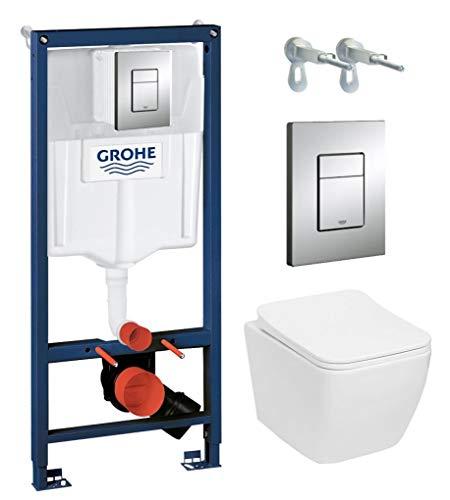 Grohe Vorwandelement inkl. Drückerplatte chrom + Lavita Wand WC Lino ohne Spülrand + WC-Sitz mit Soft-Close-Absenkautomatik + Wand-Halter-Set