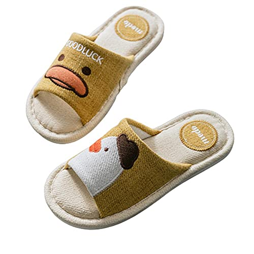 Zapatillas de lino de algodón de pato de dibujos animados Zapatillas de casa antideslizantes desodorantes antideslizantes,amarillo,37-38